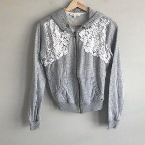 Miss Me Grey White Lace Back Long Sleeve Full Zip Jacket Women's Size Medium M